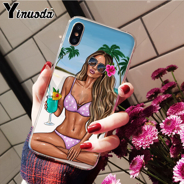 Yinuoda VOGUE Summer Princess Girl Beach TPU Soft Silicone Phone Case Cover for iPhone X XS MAX  6 6s 7 7plus 8 8Plus 5 5S SE XR