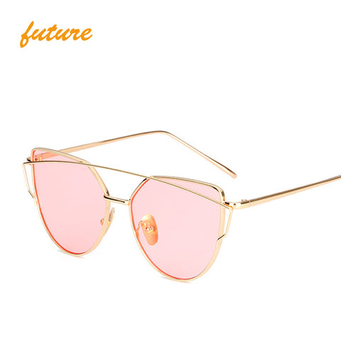 vintage Brand designer rose gold mirror Sunglasses For Women Metal Reflective flat lens