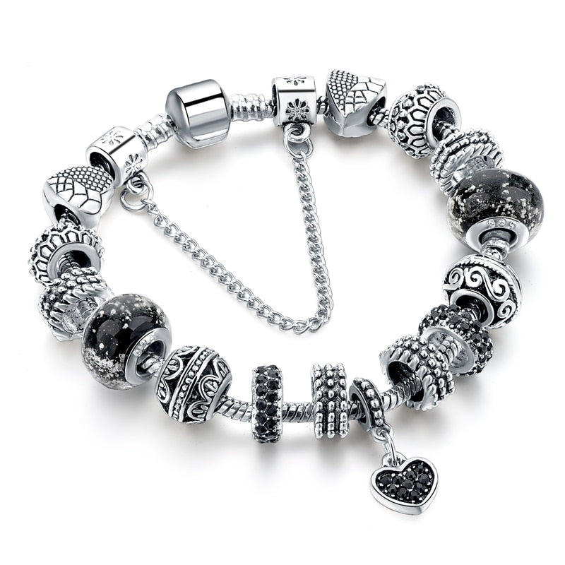 Black Charm love Bracelets & Bangles Bead s Bracelets For Women.