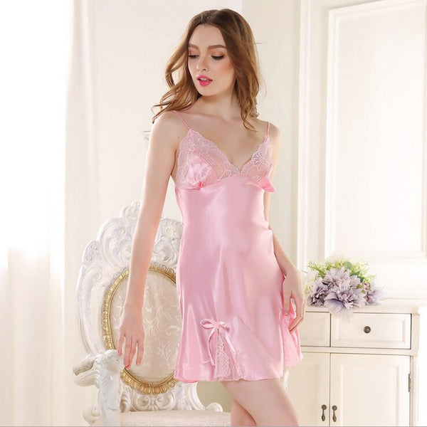 Women Sexy Sleepshirt Silk Night Gown Satin Sleep Shirt Sleeveless Home Clothes V-neck Night Shirt Summer Sleep Wear Night Wear