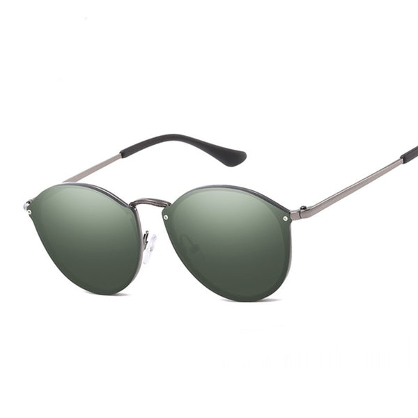 Round Sunglasses Women Brand Designer CatEye Retro Rimless.