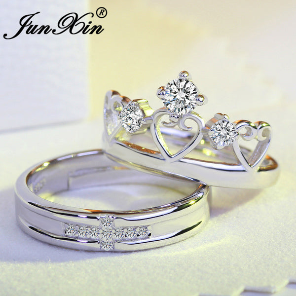 JUNXIN 8 Style Engagement Couple Rings For Women Men Simple Crown Heart Adjustable Ring Fashion Wedding Jewelry Best Gift