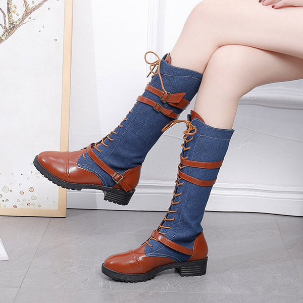 Women Ladies Shoes Denim Roman Riding Knee High Cowboy Boots Martin Long Boots for dropshipping 20180905