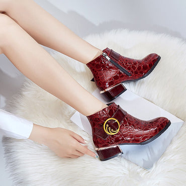 Women Side Zipper High Heels Martin Boot Crocodile Pattern Shoes Ankle Boots Woman winter Lady Boots Women Fashion Hotselling
