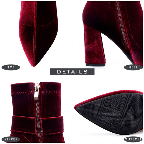 Velvet Buckle Strap Boots Women's High Heel Shoes Zipper Pointed Toe