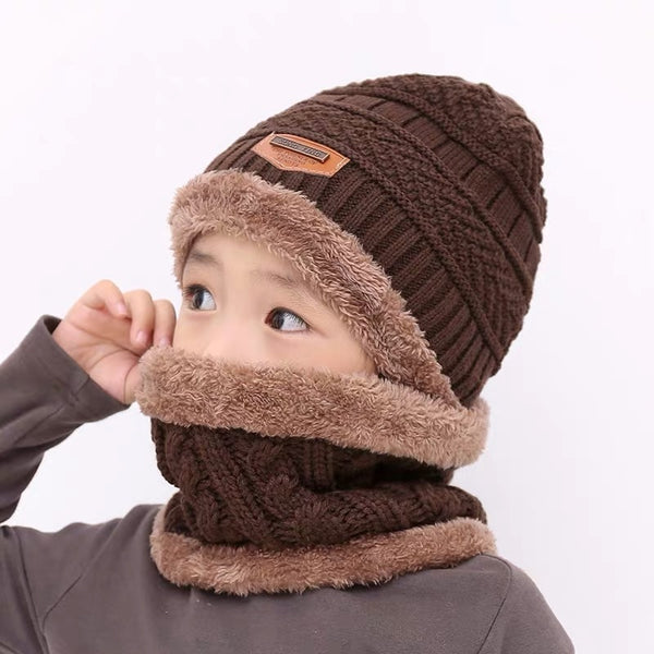 Children's hat wool and fleece baby autumn and winter ear protection warm hat scarf two sets of men and girls scarf fashion