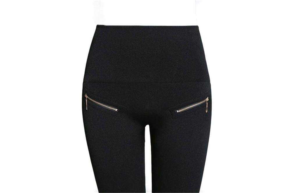 High Waist Leggings zipper and Button decorate Push Up Hip Fitness.