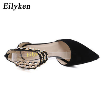 Eilyken Flock Crystal Gladiator Women Pumps Fashion Zipper Pointed Toe High Heels Lady Shoes Thin Heels Chaussure Femme Black