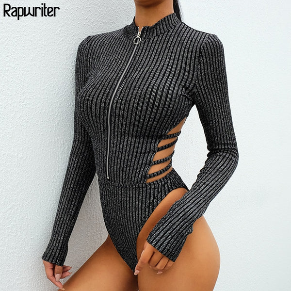 Rapwriter Sexy Backless Turtleneck Zipper Elastic Glitter Silver Striped Bodysuits Women 2018 Long Sleeve Open Crotch Bodysuit
