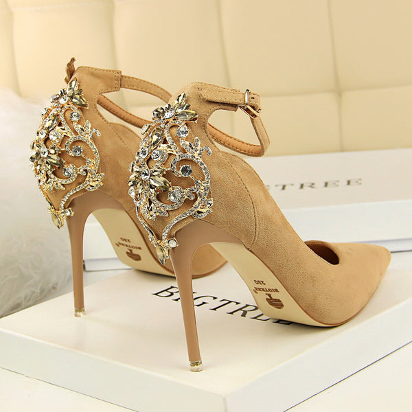 Elegant Crystal Pointed Toe  Buckle Shallow High Heels