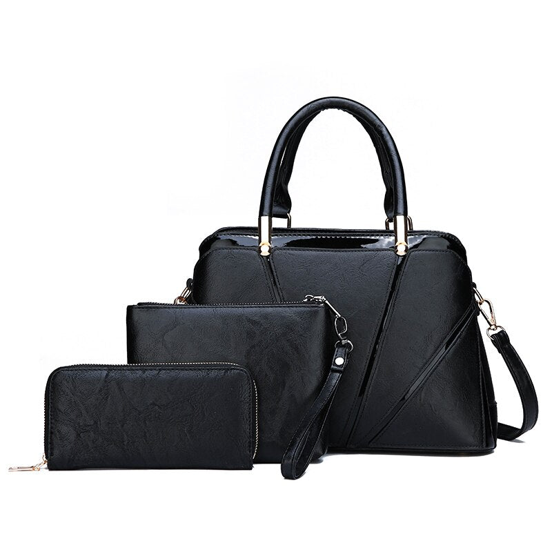 3Pcs/Sets Women Handbags PU Leather Shoulder Bags.