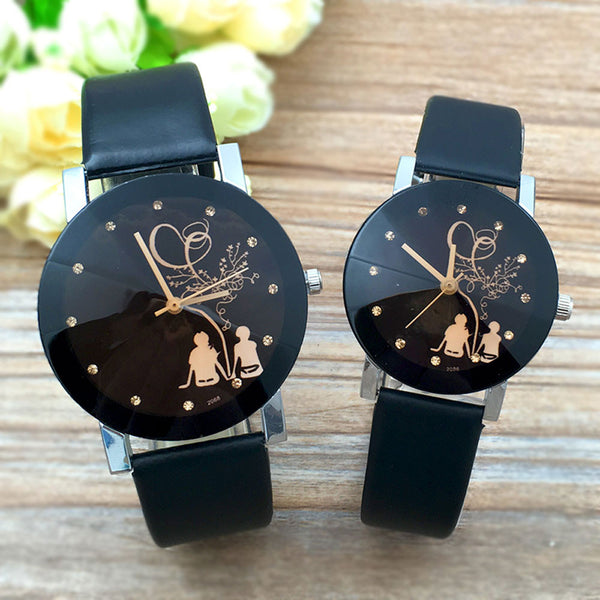 Classic Quartz Watch Couple Stylish Spire Glass wristwatches.