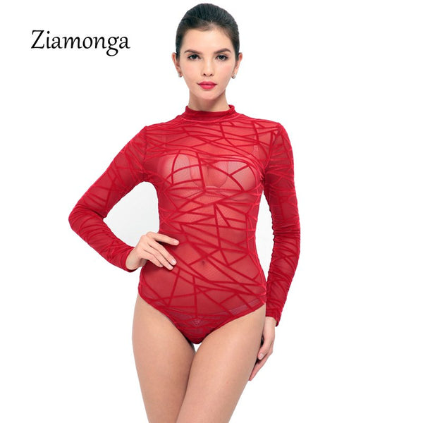 Ziamonga Sexy Mesh Rompers Women Jumpsuit Lace Black Bodysuit Women Transparent Party Overalls For Women Long Sleeve Playsuits