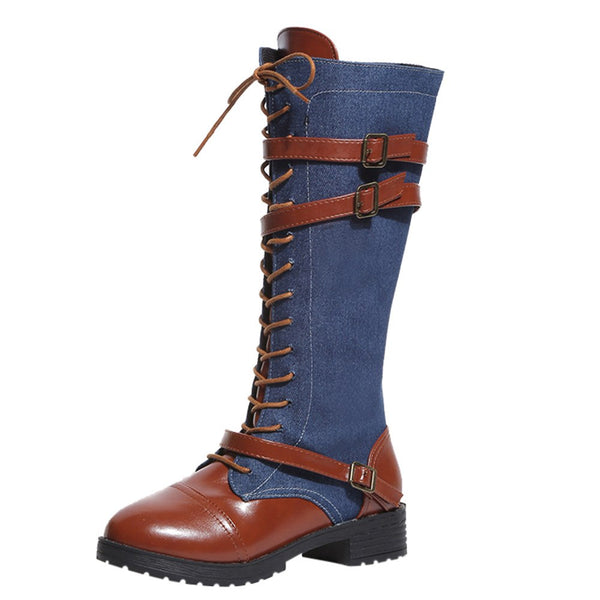 Women Ladies Shoes Denim Roman Riding Knee High Cowboy Boots Martin Long Boots