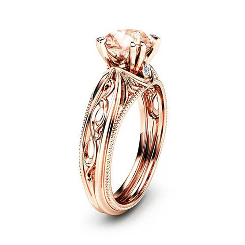 Flowers Rose Gold Engagement Wedding Rings for Women.