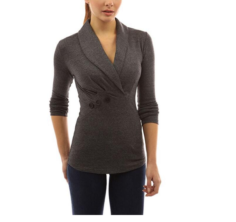 Long-sleeve T-shirt Fashion Lapel Button Decoration Shirt Long Casual Female Tee. Fall/ Spring