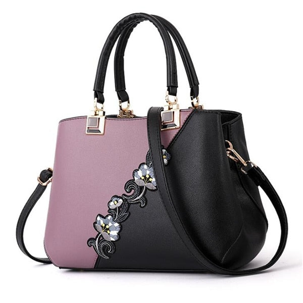 Handbags PU Leather Embroidery Brand Luxury Shoulder Bag.