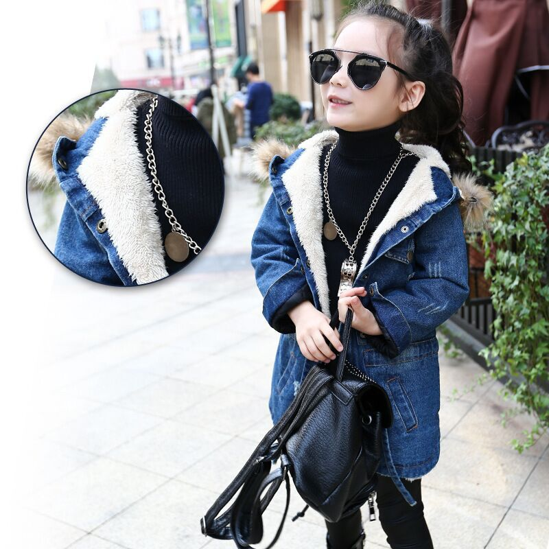 Girls denim jacket plus thick velvet jacket big long warm coat for winter.