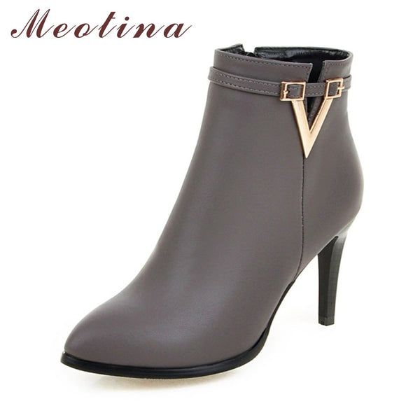 Meotina Women Shoes High Heel Ankle Boots Martin Boots Zip Fall Spring Pointed Toe High Heels Lady Shoes Gray Big Size 10 40 43