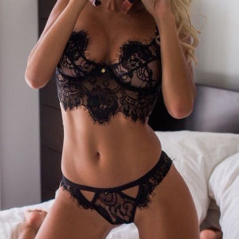 Lace Bra Sets Bralette Soft Lingerie Push Up Bra Brief.