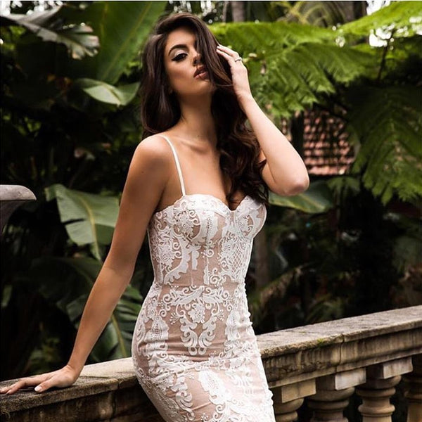 Top Quality White Lace Slip Rayon Bandage Dress Evening Party Bodycon Elegant Dress