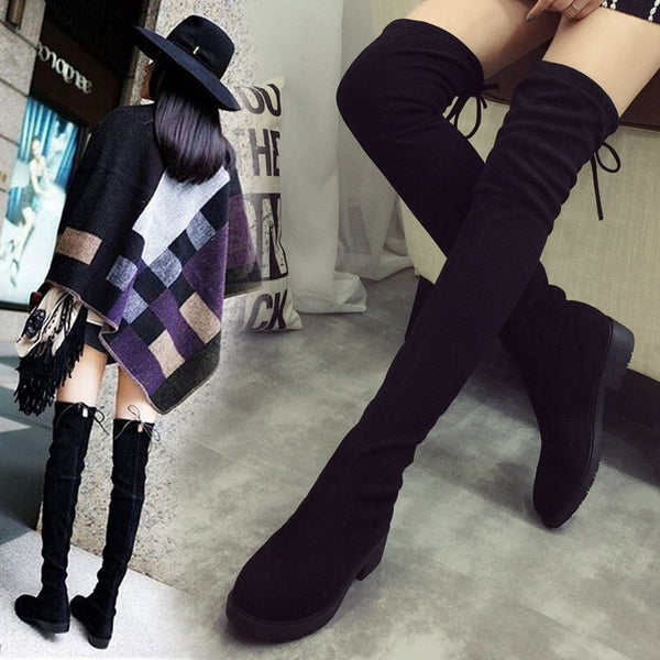 High Black Boots Women Flats Long Boots Low Heel suede Leather Shoes