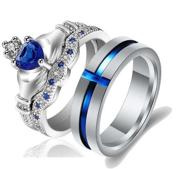 Princess Crown Shape Tiaras Blue Cubic Zircon Engagement Wedding Rings For Men and Women.