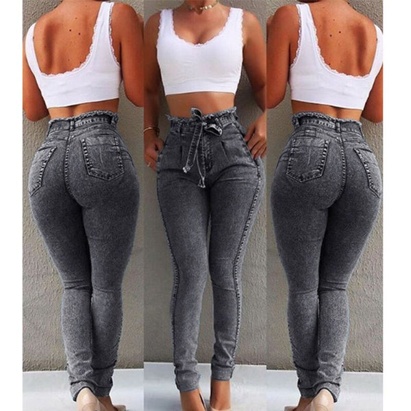 Plus Size Ladies booty High Waist Jeans For Women Slim Stretch Denim Jean Bodycon Tassel Belt Bandage Skinny Push Up Jeans Woman