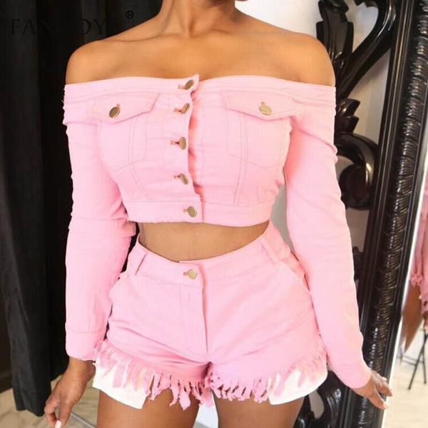 Fantoye Two Piece Set Tasse Jean Crop Top Shorts Sexy Off Shoulder Pockets Button Tracksuit Long Sleeve Casual Women Denim Suit