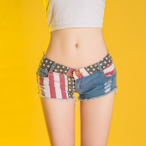 Jeans Mini USA Short Sexy Low Waist.
