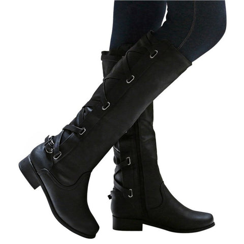 Ladies Buckle Roman Riding Knee High Cowboy winter boots women casual  Long Boots