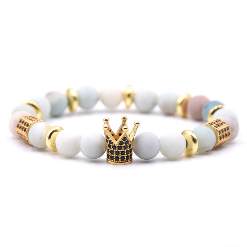 King Crown Gear spacer Charms Bracelets Natural Stone.