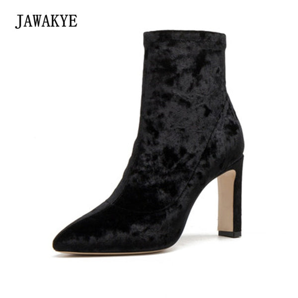 Velvet Ankle Boots Woman Pointed Toe High Heel Boots.
