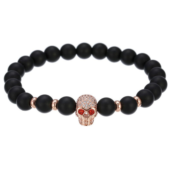Natural Stone Beads Men Micro Pave CZ Crown Bracelets For Women Handmade.