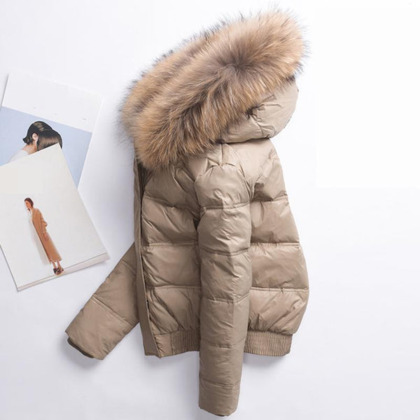 Long Sleeve Slim White Duck Down Parkas Coat Female Zipper Pockets Outwear