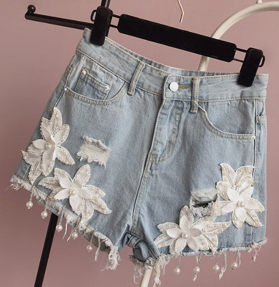 Beaded Jeans Shorts Mid-waist All-match Lace Flower Fringed Stereo Hole Denim Shorts