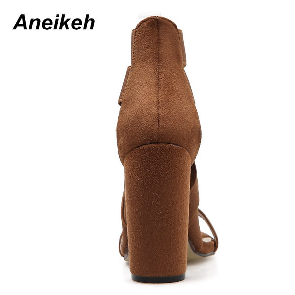 Aneikeh 2019 Gladiator Sandals Fashion Women Sandals High Heels Open toe Ankle Strap Elastic band Shoes Size 35-40 Pumps black
