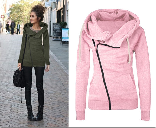 Long Sleeve Women's Hoodie Zipper Fall Winter Women Coat