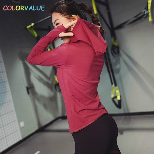 Solid Sport Fitness Shirts Women Quick Dry Gym Running Hoodie Long Sleeve Nylon Jogging
