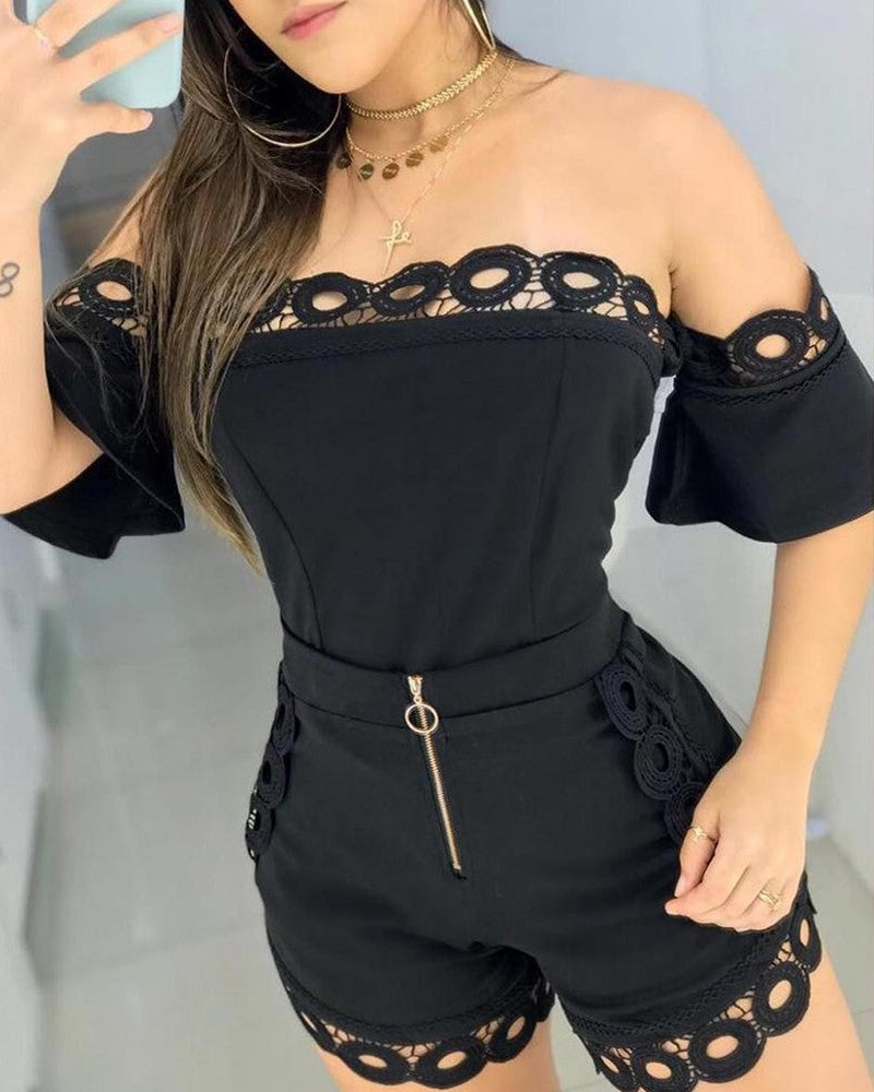 Sexy Off Shoulder Hollow Out Lace Detail Women Two Piece Set Top and Shorts.