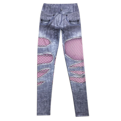 Jeans Pants Hole Print Skinny Faux Denim Slim Trousers Leggings Fit Sexy Fake Jeans Leggins Trouser