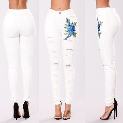 Black White Embroidered Jeans 2019 High Waist Jeans Skinny Denim Women Hole Slim Mom Push Up Ripped Jeans Female Stretch Befree