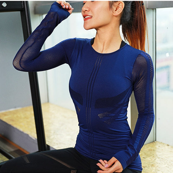 Slim Fit Mesh Yoga Fitness Top Long Sleeve High Flexible Solid Gym Workout Jersey