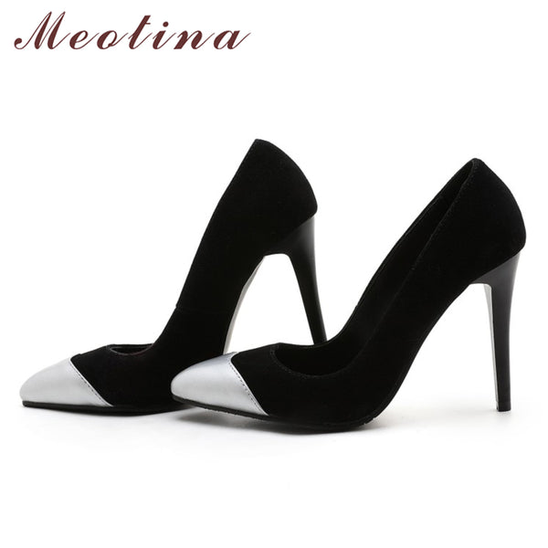 Meotina Shoes Women Pumps Stiletto High Heels Pointed Toe Large Size 46 High Thin Heels Slip On Pumps Office Shoes Gold Silver