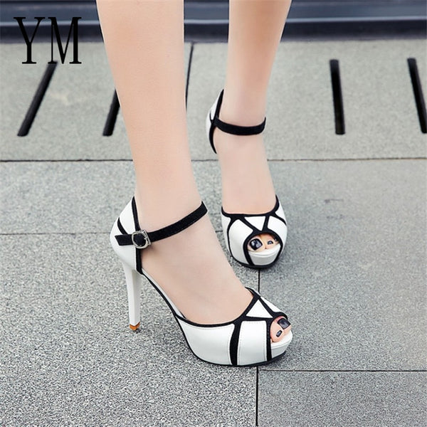 Hot Summer Hollow Buckle Women's Shoes European And American Fight Color Fish Mouth Fine With High Heels Young Daily Shoes 41