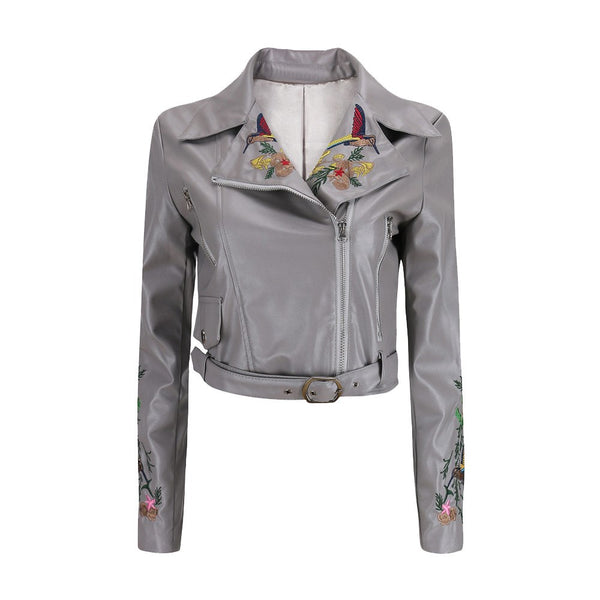 Women Autumn Winter Faux Leather Jackets Lady Fashion Embroidery Motorcycle Coat Biker Gray Pink Black Zipper Outwear With Blet