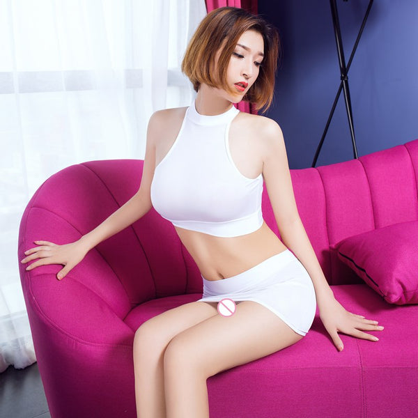 Sexy Women Dual Use OL MINI Skirt Open Chest See Through Bodysuit Ice Silk Transparent Club Dance Wear Sexy T-shirt 2PCS/Set F19