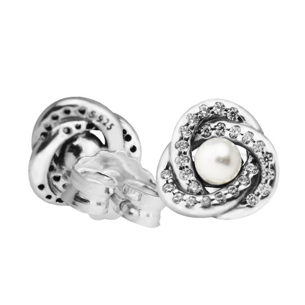 Silver Stud Earrings with White Crystal Pearl and Clear CZ Fine Jewelry
