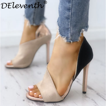 DEleventh New Design Fashion Colorblock Peep Toe High-heeled Pumps Stiletto High Heels Sandals Nude Mixed Colors Woman Shoes Hot