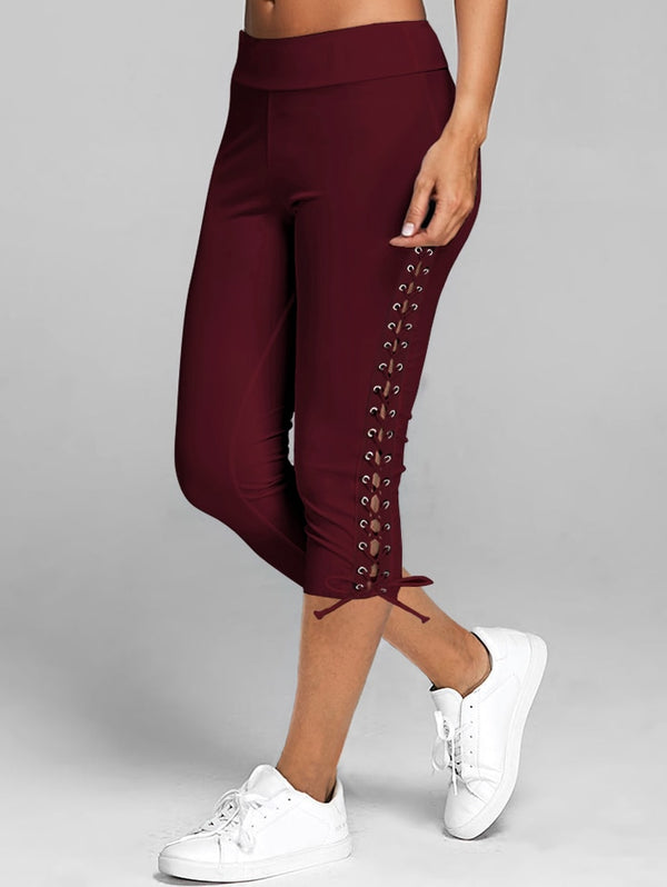 Lace Up Capri Casual High Waist Leggings Mid-Calf.